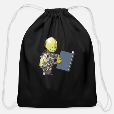 Intelligent Robot reading a book - Cotton Drawstring Bag