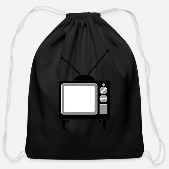 Tv Bags & Backpacks - monitor television fernseher tv flatscreen compute - Cotton Drawstring Bag black