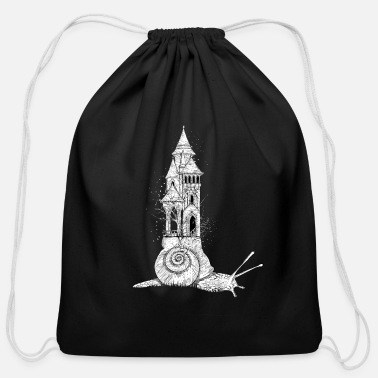 Snail with tower - Cotton Drawstring Bag