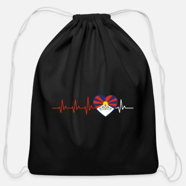 Tibet HEARTBEAT TIBET TIBETAN FLAG LOVE GIFT IDEA - Cotton Drawstring Bag