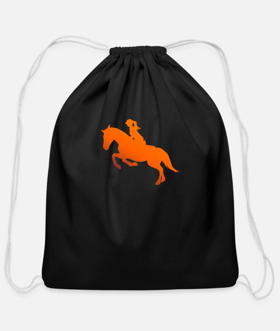 Riding Bags & Backpacks - Horse Riding Girl Silhouette Gift Idea - Cotton Drawstring Bag black