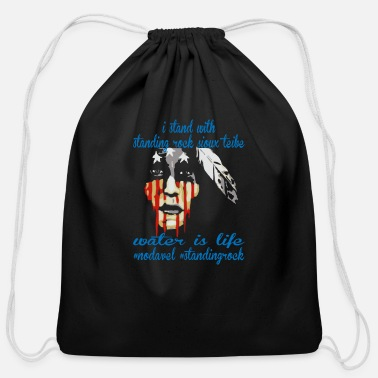 Stand STAND WITH STANDING ROCK NODAPL - Cotton Drawstring Bag