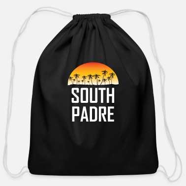 South Padre Island South Padre Island Sunset Palm Trees Beach - Cotton Drawstring Bag