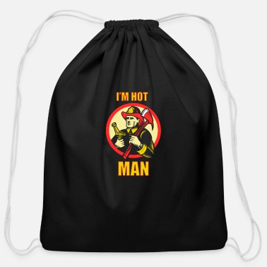 Firefighter Man Firefighter Shirt - Firefighting - Man - Cotton Drawstring Bag
