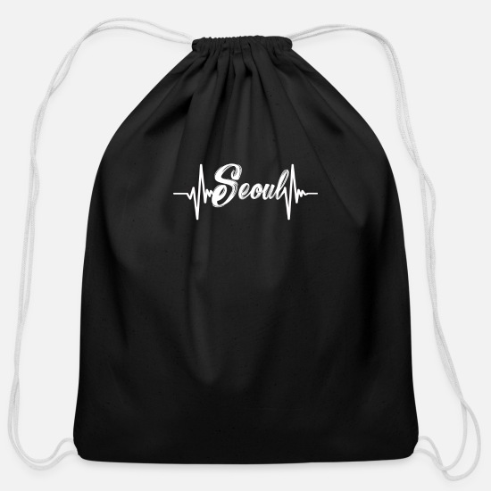 Seoul Bags & Backpacks - Seoul South Korea Heartbeat - Cotton Drawstring Bag black