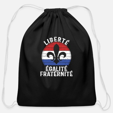 Fraternity Liberty Equality Fraternity Vintage Fleur De Lis - Cotton Drawstring Bag