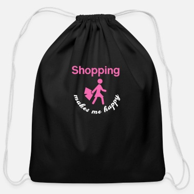 Shopping Happy Shopping - Shopping, shopping - Cotton Drawstring Bag