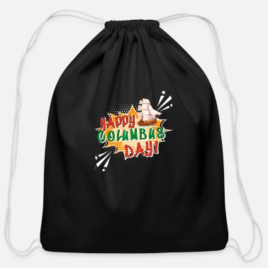 Happy Columbus Day - Cotton Drawstring Bag