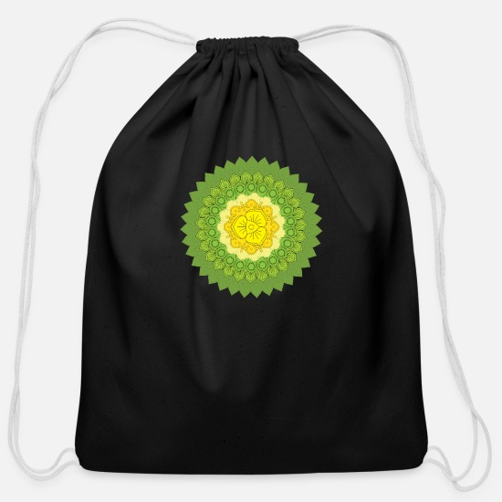 Pattern Bags & Backpacks - Circular pattern in the form of a mandala - Cotton Drawstring Bag black