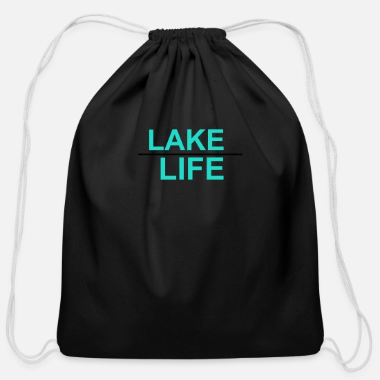 Lake Bags & Backpacks - Lake life - Cotton Drawstring Bag black
