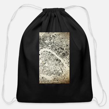 Antic London Streets and Buildings Map Antic Vintage - Cotton Drawstring Bag