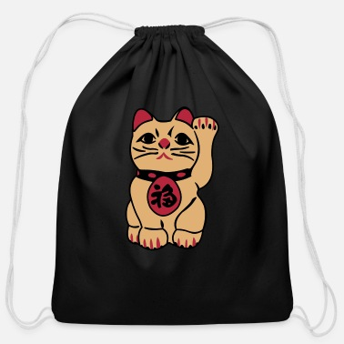 Wave good fortune cat - Cotton Drawstring Bag