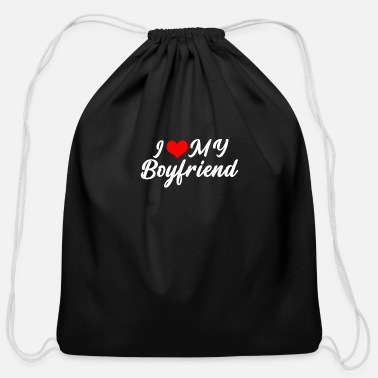 Streaker I Love My Girlfriend , boyfriend, couple - Cotton Drawstring Bag