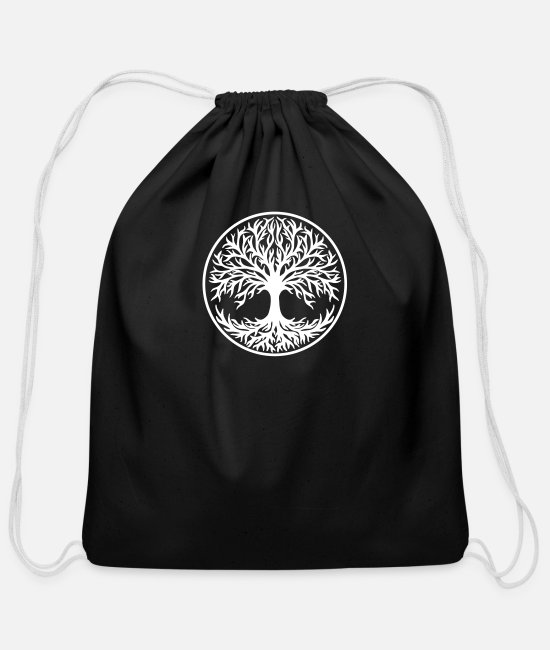 Vikings Bags & Backpacks - Yggdrasil Tree of Life Celtic Symbol Nature Nordic - Cotton Drawstring Bag black