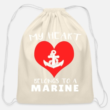 Marine My Heart Belongs to A Marin - Cotton Drawstring Bag