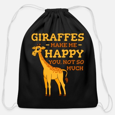 Giraffe Giraffes Make Me Happy - Cotton Drawstring Bag