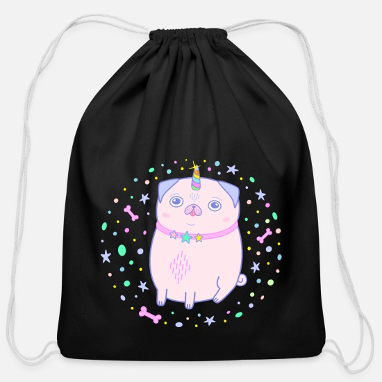 Pug Bags & Backpacks - pug unicorn pink pugicorn cute dog gift - Cotton Drawstring Bag black