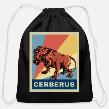 Mythology Retro Vintage Cerberus Dog Greek Mythology Gift - Cotton Drawstring Bag