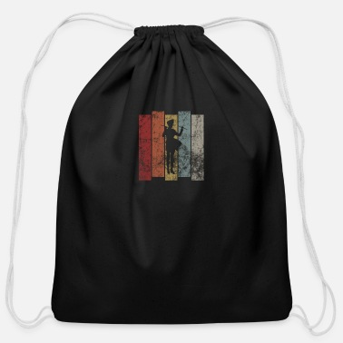 Band Retro Marching Band Silhouette not only for the Gu - Cotton Drawstring Bag