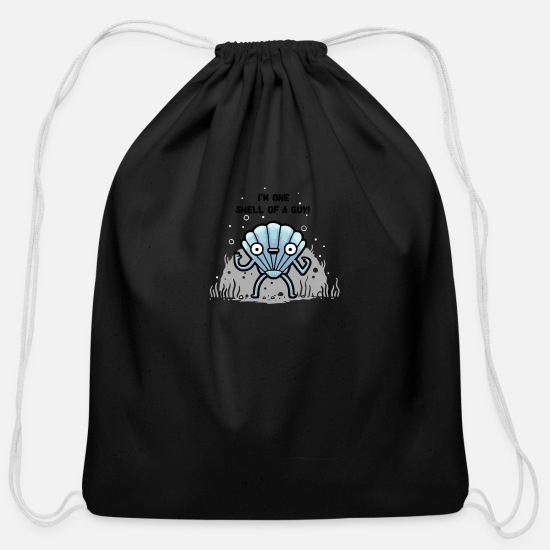Guys Night Out Bags & Backpacks - A Shell of a Guy - Cotton Drawstring Bag black