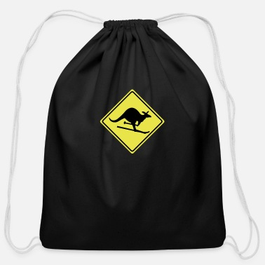 Laugh roadsign kangaroo - Cotton Drawstring Bag
