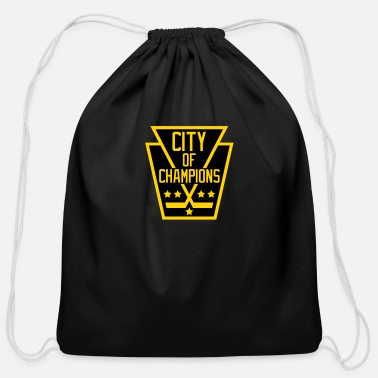 City Of Champions City of Champions - Black and Gold - Cotton Drawstring Bag