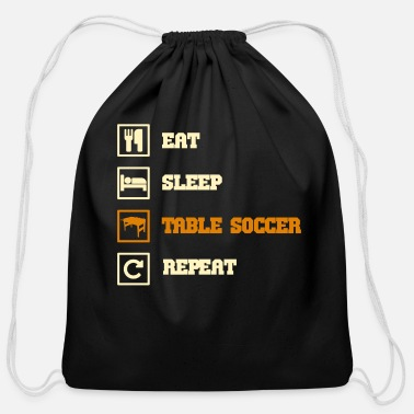 Table eat sleep repeat table soccer - Cotton Drawstring Bag