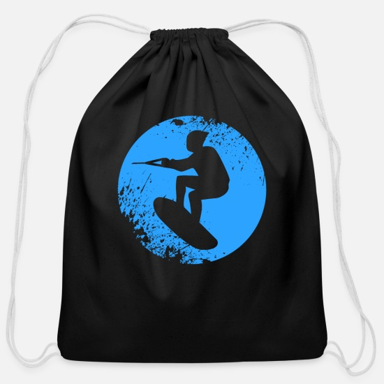 Motorboat Bags & Backpacks - wakeboard boarder water gift - Cotton Drawstring Bag black