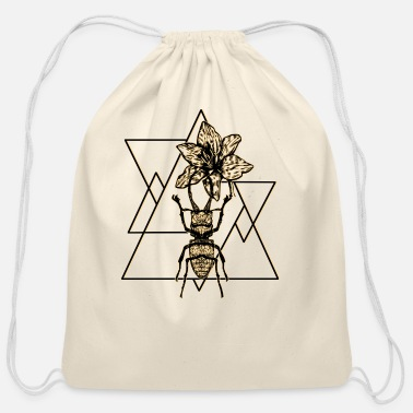 Triangle insect geometry art beetle triangle - Cotton Drawstring Bag