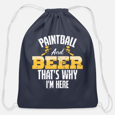 Shot Paintball and beer - Cotton Drawstring Bag