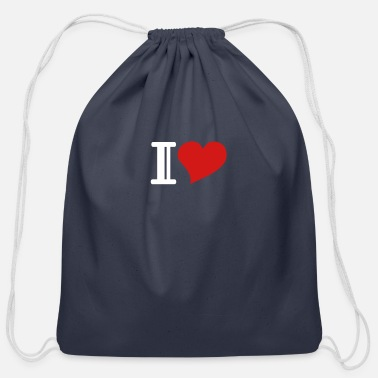 I Heart i heart - Cotton Drawstring Bag