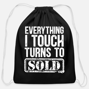 Touch Shopping funny saying - Cotton Drawstring Bag