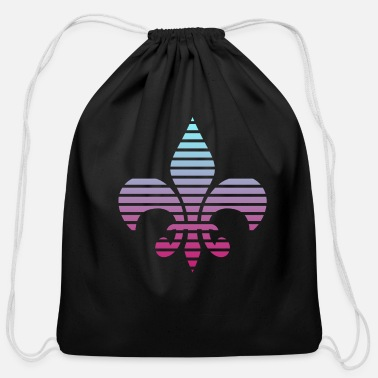 Duotone Lilly Silhouette Lines Duotone Design - Cotton Drawstring Bag