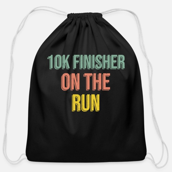 Triathlet Bags & Backpacks - 10k Race Finisher 80s Vintage Marathon gifts - Cotton Drawstring Bag black