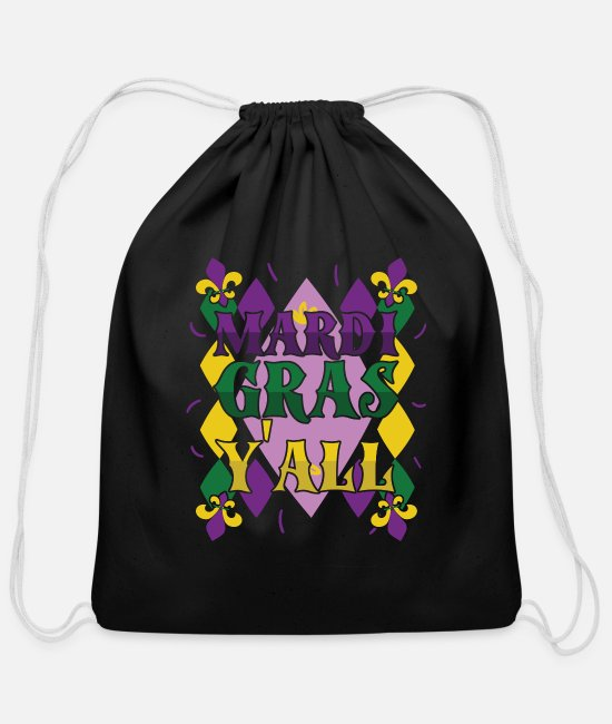 Celebrate Bags & Backpacks - Mardi Gras Yall Street Party Carnival Gift - Cotton Drawstring Bag black