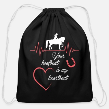Western Your hoofbeat is my heartbeat - Cotton Drawstring Bag