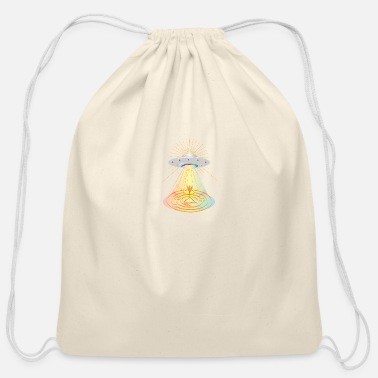 Element The formation of a crop circle by a UFO - Cotton Drawstring Bag