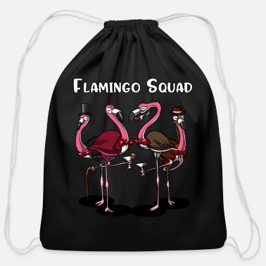 Womens Flamingo Flamingo Squad Funny Birds - Cotton Drawstring Bag