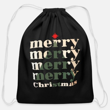 Merry Merry merry merry merry Christmas - Cotton Drawstring Bag