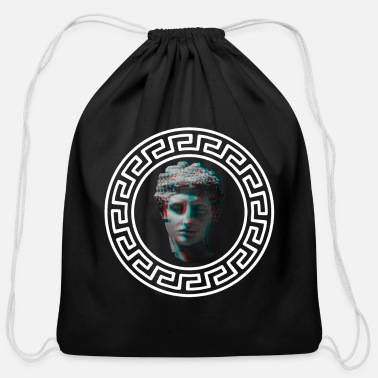 Zeus Sparta Greek Pattern Symbols Vaporwave Statue - Cotton Drawstring Bag