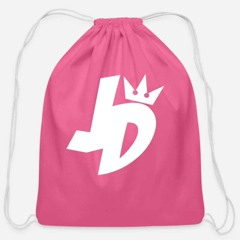 jd logo cotton drawstring bag spreadshirt jd logo cotton drawstring bag pink