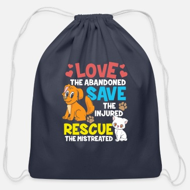 Rescue Animal Rescue - Love The Abandoned - Cotton Drawstring Bag