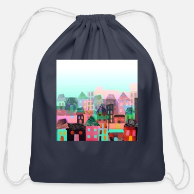 Quirk city town - Cotton Drawstring Bag