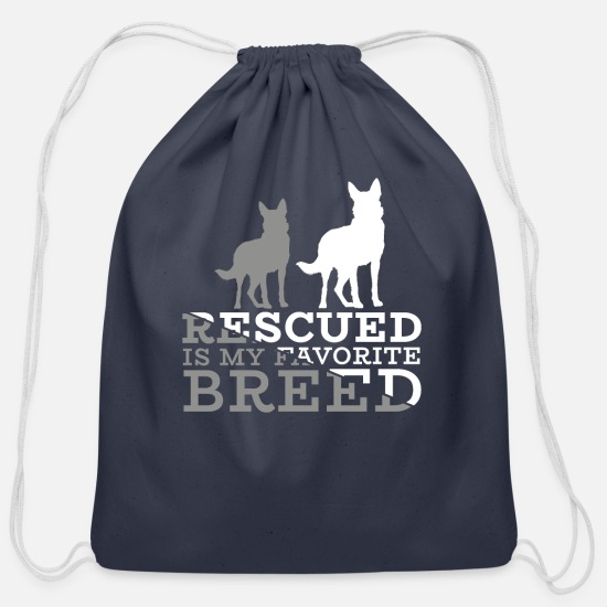 Dog Owner Bags & Backpacks - Rescued is my favorite Dog - Cotton Drawstring Bag navy