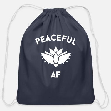 New Years Peaceful AF Lotus - Cotton Drawstring Bag