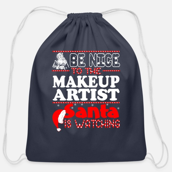 Makeup Bags & Backpacks - Be Nice To Makeup Artist Santa Watching - Cotton Drawstring Bag navy
