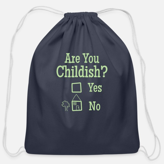 Naive Bags & Backpacks - Are you Childish? Design - Cotton Drawstring Bag navy