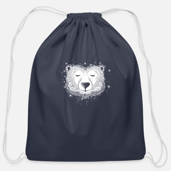 Dream Bags & Backpacks - dreaming polar bear - Cotton Drawstring Bag navy