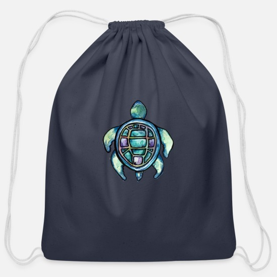 Turtle Bags & Backpacks - sea turtle - Cotton Drawstring Bag navy