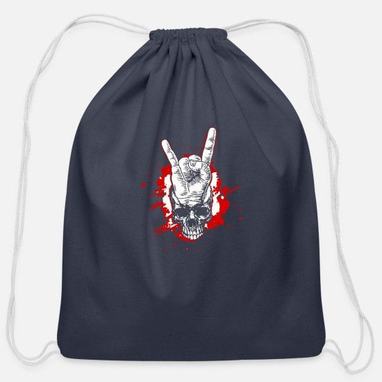 Metal Bags & Backpacks - Rocking Heavy Metal Skull Shirts Christmas Gift - Cotton Drawstring Bag navy
